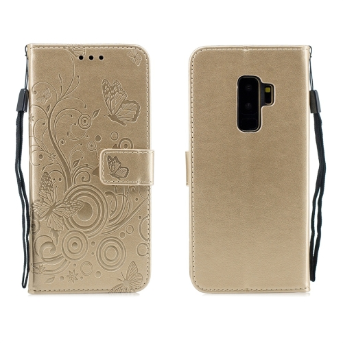 For Galaxy S9 Plus - Butterflies Love Flowers Pattern Horizontal Flip Leather Case with Holder & Card Slots & Wallet & Lanyard(Gold)