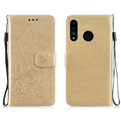 For Huawei P30 Lite Butterflies Love Flowers Pattern Horizontal Flip Leather Case with Holder & Card Slots & Wallet & Lanyard(Gold) фото