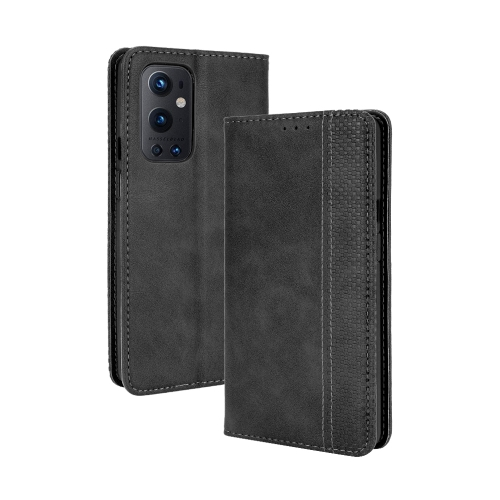 For OnePlus 9 Pro Magnetic Buckle Retro Crazy Horse Texture Horizontal Flip Leather Case with Holder & Card Slots & Photo Frame(Black)  - buy with discount