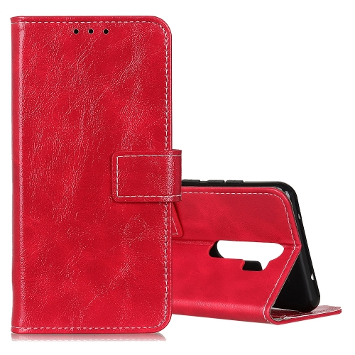 For OPPO A9 (2020) Retro Crazy Horse Texture Horizontal Flip Leather Case with Holder & Card Slots & Photo Frame & Wallet(Red) фото