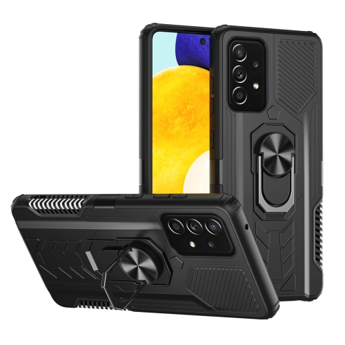 For Samsung Galaxy A52 5G / 4G Shield Armor PC+TPU Protective Case with 360 Degree Rotation Ring Holder(Black)  - buy with discount