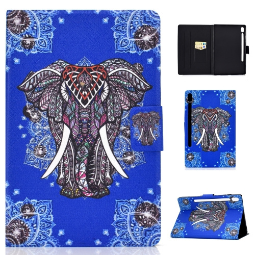For Galaxy Tab S6 T860 / T865 Colored Drawing Horizontal Flip Leather Case with Holder & Card Slots & Sleep / Wake-up Function(Ethnic Elephant)