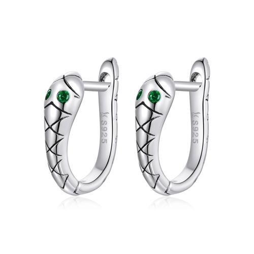 S925 Sterling Silver Smart Snake Ear Studs Women Earrings(Silver)