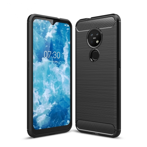 For Nokia 7.2 & 6.2 Brushed Texture Carbon Fiber TPU Protective Case(Black) фото