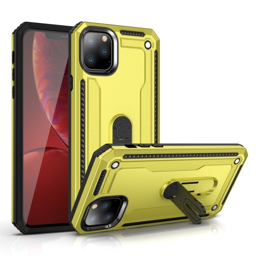 For iPhone 11 Pro Max Shockproof PC + TPU Protective Case with 360 Degree Rotating Holder(Yellow)