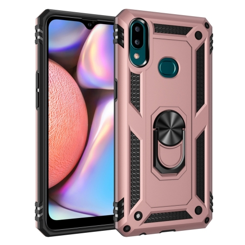 For Galaxy A10s Armor Shockproof TPU + PC Protective Case with 360 Degree Rotation Holder(Rose Gold)