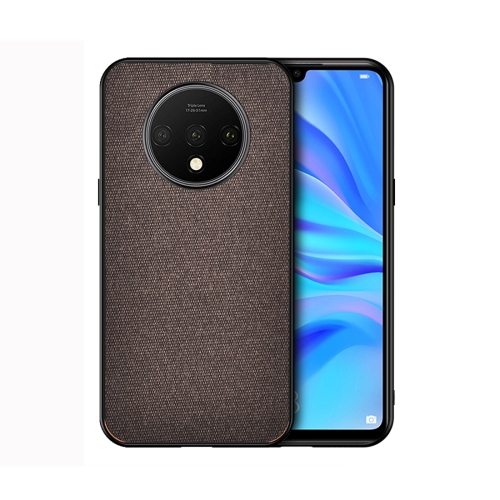 For OnePlus 7T - Shockproof Cloth Texture PC+ TPU Protective Case(Brown)
