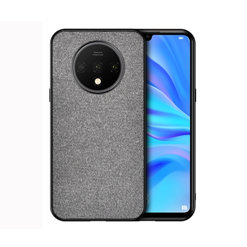 For OnePlus 7T - Shockproof Cloth Texture PC+ TPU Protective Case(Grey)