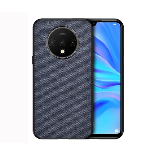 For OnePlus 7T - Shockproof Cloth Texture PC+ TPU Protective Case(Blue)