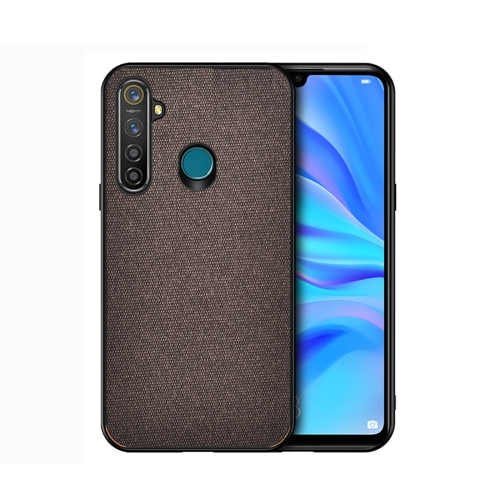 For Realme 5 Pro - Shockproof Cloth Texture PC+ TPU Protective Case(Brown)