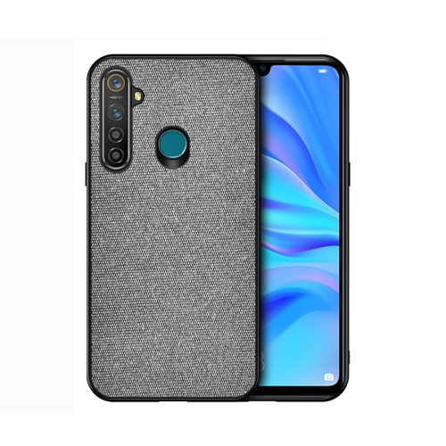 For Realme 5 Pro - Shockproof Cloth Texture PC+ TPU Protective Case(Grey)