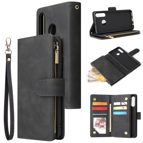 For Huawei P30 Lite - Multifunctional Retro Frosted Horizontal Flip Leather Case with Card Slot & Holder & Zipper Wallet & Photo Frame & Lanyard(Black)