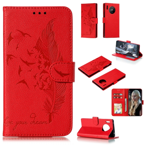 For Huawei Mate 30 Pro - Feather Pattern Litchi Texture Horizontal Flip Leather Case with Holder & Wallet & Card Slots(Red)