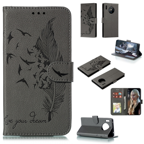 For Huawei Mate 30 Pro - Feather Pattern Litchi Texture Horizontal Flip Leather Case with Holder & Wallet & Card Slots(Gray)