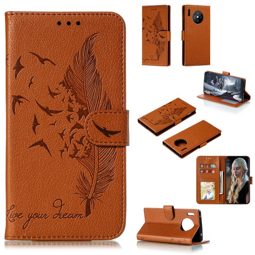 For Huawei Mate 30 Pro - Feather Pattern Litchi Texture Horizontal Flip Leather Case with Holder & Wallet & Card Slots(Brown)