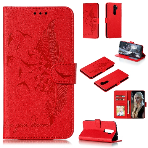For Xiaomi Redmi Note 8 Pro - Feather Pattern Litchi Texture Horizontal Flip Leather Case with Holder & Wallet & Card Slots(Red)