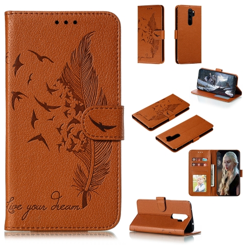 For Xiaomi Redmi Note 8 Pro - Feather Pattern Litchi Texture Horizontal Flip Leather Case with Holder & Wallet & Card Slots(Brown)