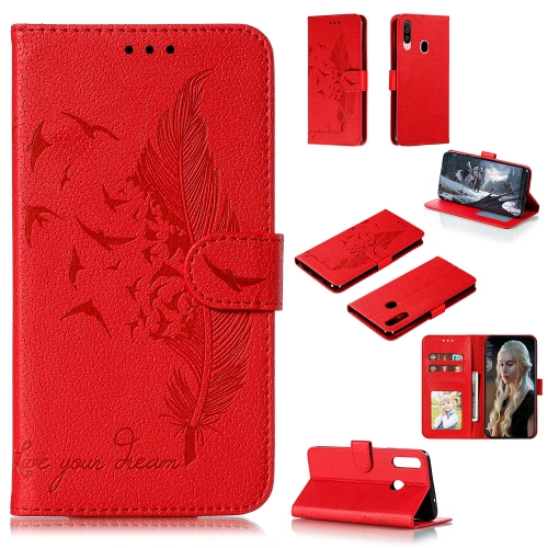 For Galaxy A20s - Feather Pattern Litchi Texture Horizontal Flip Leather Case with Holder & Wallet & Card Slots(Red)