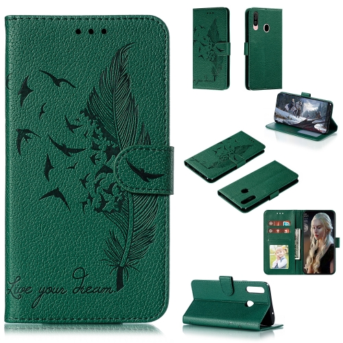 For Galaxy A20s - Feather Pattern Litchi Texture Horizontal Flip Leather Case with Holder & Wallet & Card Slots(Green)
