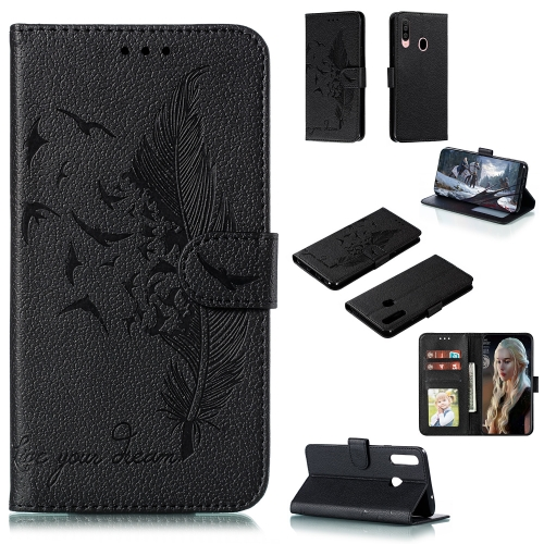 For Galaxy A20s - Feather Pattern Litchi Texture Horizontal Flip Leather Case with Holder & Wallet & Card Slots(Black)