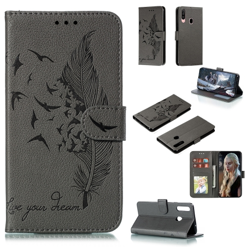 For Galaxy A20s - Feather Pattern Litchi Texture Horizontal Flip Leather Case with Holder & Wallet & Card Slots(Gray)