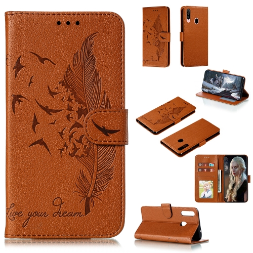 For Galaxy A20s - Feather Pattern Litchi Texture Horizontal Flip Leather Case with Holder & Wallet & Card Slots(Brown)