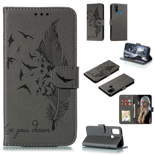 For Galaxy M31 / M30s / M21 - Feather Pattern Litchi Texture Horizontal Flip Leather Case with Holder & Wallet & Card Slots(Gray)
