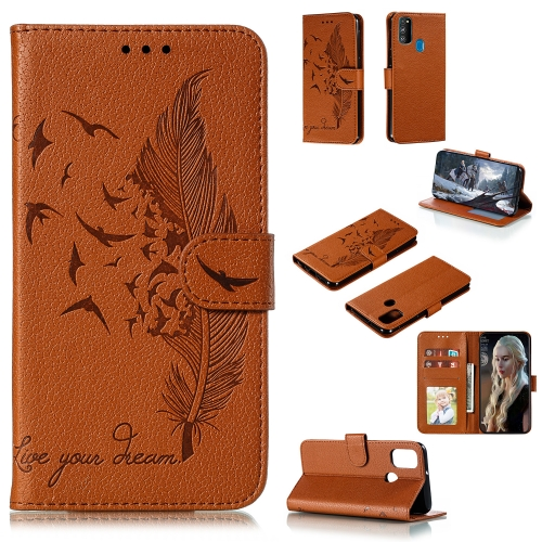 For Galaxy M31 / M30s / M21 - Feather Pattern Litchi Texture Horizontal Flip Leather Case with Holder & Wallet & Card Slots(Brown)
