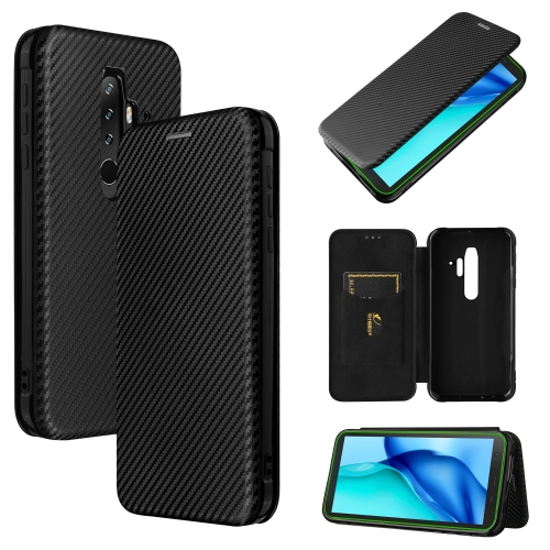 For Blackview BV6300 Pro Carbon Fiber Texture Magnetic Horizontal Flip TPU + PC + PU Leather Case with Card Slot(Black)  - buy with discount