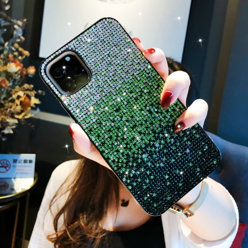 For iPhone 11 Pro PC + Crystal Diamond Tri-Color Gradient Protective Case(Gradient Green) фото