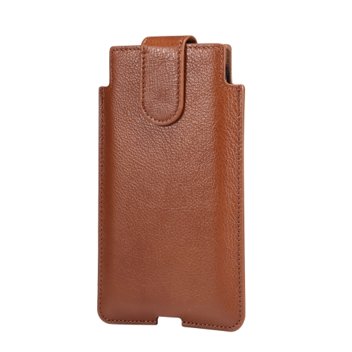 Universal Cow Leather Vertical Mobile Phone Leather Case Waist Bag For 7.2 inch and Below Phones(Brown)  - buy with discount