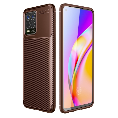 For OPPO Realme 8 Carbon Fiber Texture Shockproof TPU Case(Brown)  - buy with discount