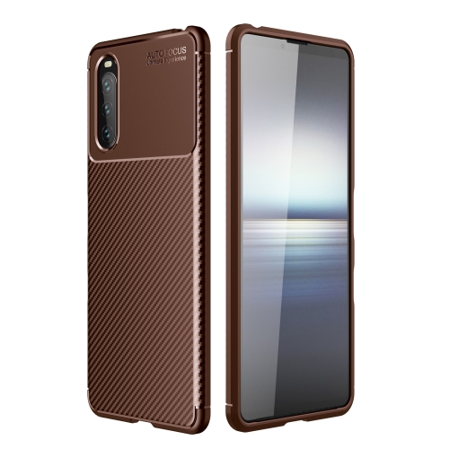 For Sony Xperia 10 III Carbon Fiber Texture Shockproof TPU Case(Brown)  - buy with discount