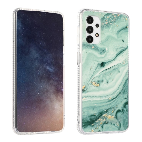 For Samsung Galaxy A32 4G Gold Sands Dual-side IMD Marble Pattern Acrylic + TPU Shockproof Case(Sands Green)  - buy with discount