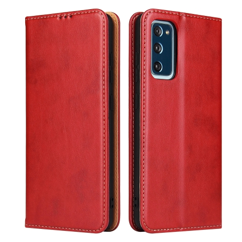For Samsung Galaxy A52 5G Fierre Shann PU Genuine Leather Texture Horizontal Flip Leather Case with Holder & Card Slots & Wallet(Red)  - buy with discount