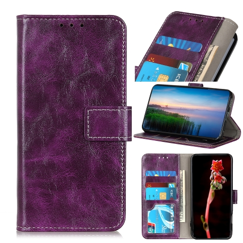 For Motorola One Macro / G8 Play Retro Crazy Horse Texture Horizontal Flip Leather Case with Holder & Card Slots & Photo Frame & Wallet(Purple) фото