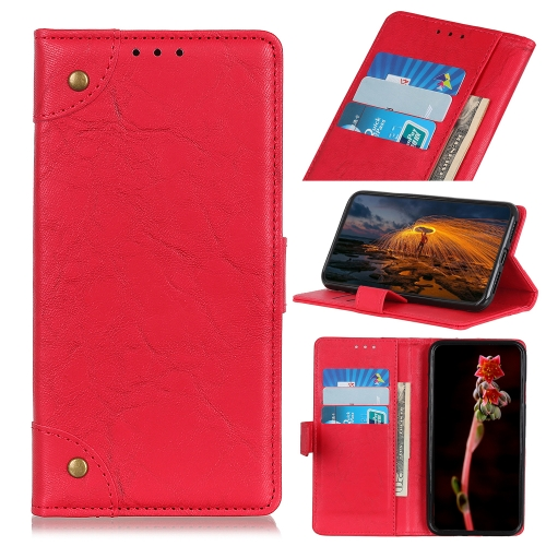 For Motorola One Macro / G8 Play Copper Buckle Retro Crazy Horse Texture Horizontal Flip Leather Case with Holder & Card Slots & Wallet(Red)