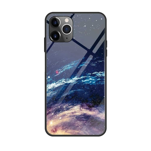 For iPhone 11 Pro Max Colorful Painted Glass Case(Starry Sky)