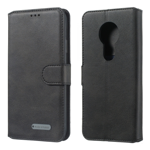 For Motorola Moto G6 Play Solid Color Buckle Horizontal Flip Leather Case with Wallet & Holder & Card Slots(Black)