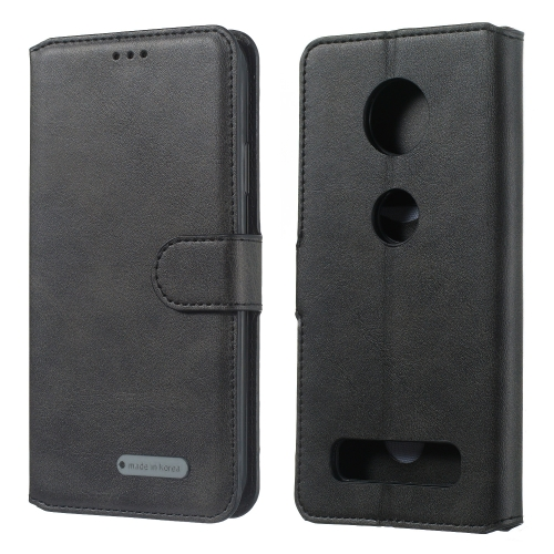 For Motorola Moto Z4 Play Solid Color Buckle Horizontal Flip Leather Case with Wallet & Holder & Card Slots(Black)