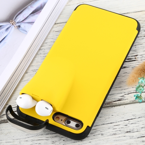 For iPhone 7 Plus / 8 Plus PC + TPU Shockproof Protective Back Case With AirPods Storage Box(Yellow)