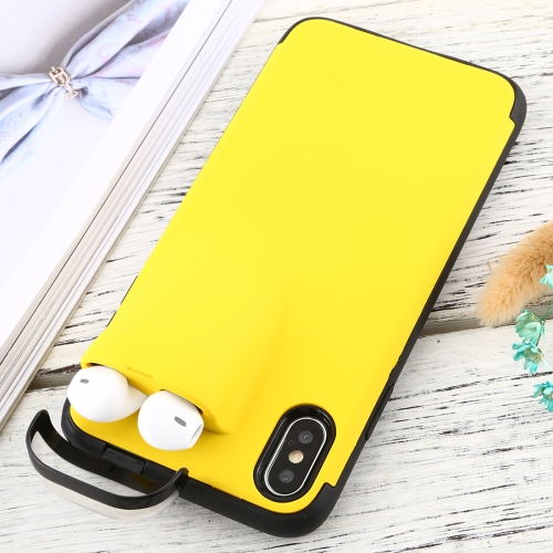 For iPhone X / XS PC + TPU Shockproof Protective Back Case With AirPods Storage Box(Yellow)