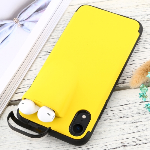 For iPhone XR PC + TPU Shockproof Protective Back Case With AirPods Storage Box(Yellow)