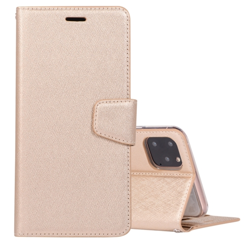 For iPhone 11 Pro Max Silk Texture Horizontal Flip Leather Case with Holder & Card Slots & Wallet & Photo Frame(Gold)