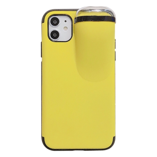 For iPhone 11 Pro Max PC + TPU Shockproof Protective Back Case With AirPods Storage Box(Yellow)
