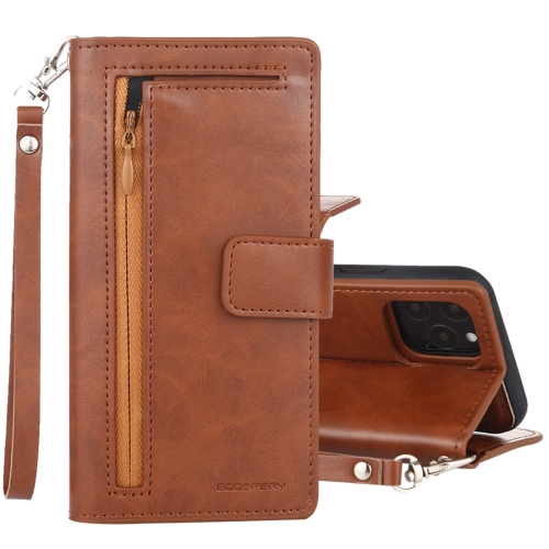 For iPhone 11 Pro Max GOOSPERY DETACHABLE DIARY Detachable Horizontal Flip Leather Case with Holder & Card Slots & Zipper & Wallet(Brown)