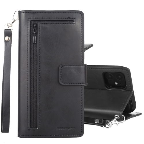For iPhone 11 GOOSPERY DETACHABLE DIARY Detachable Horizontal Flip Leather Case with Holder & Card Slots & Zipper & Wallet(Black)