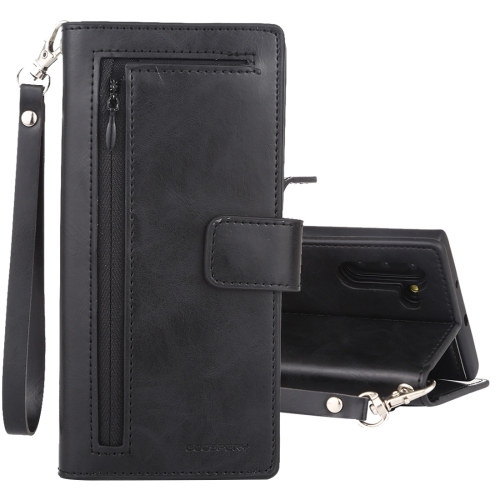 For Galaxy Note 10 GOOSPERY DETACHABLE DIARY Detachable Horizontal Flip Leather Case with Holder & Card Slots & Zipper & Wallet(Black)