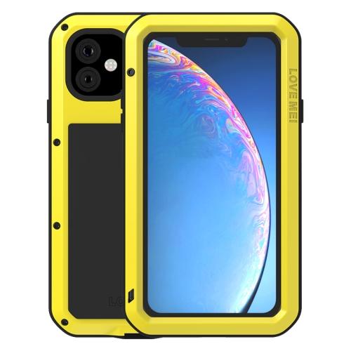 For iPhone 11 Pro Max LOVE MEI Metal Shockproof Waterproof Dustproof Protective Case(Yellow)