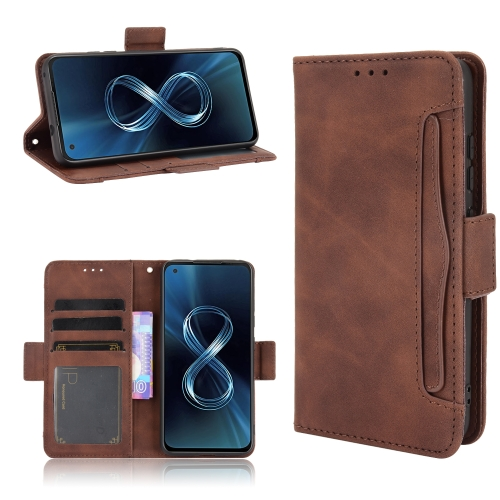 For Asus Zenfone 8 ZS590KS Skin Feel Calf Pattern Horizontal Flip Leather Case with Holder & Card Slots & Photo Frame(Brown)